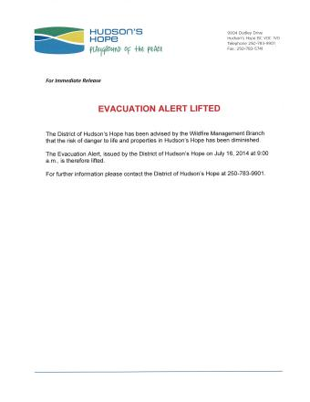 Evacuation Alert Lifted July 22, 2014