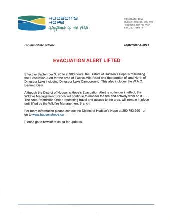 Evacuation Alert Lifted September 3 2014