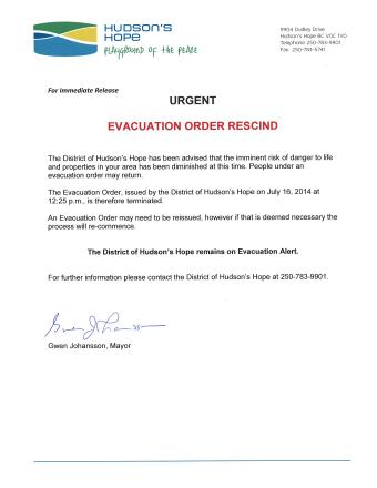 Evacuation Order Rescind July 17, 2014