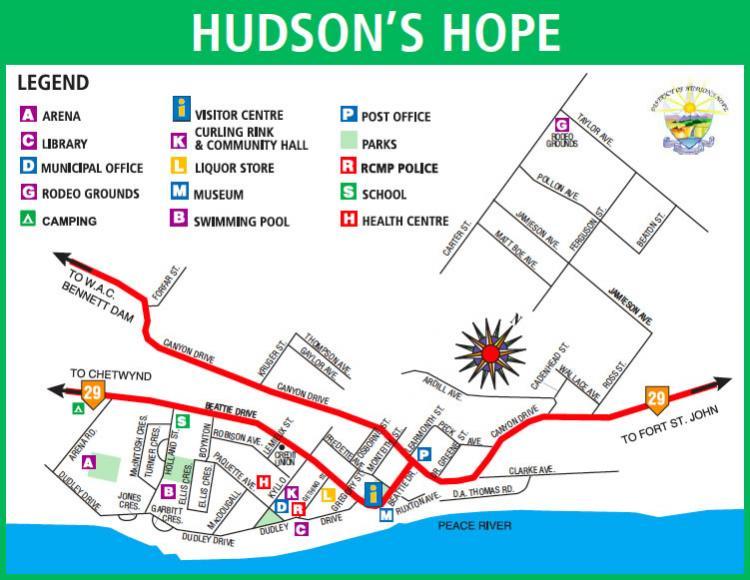 Hudson's Hope Tourist Map