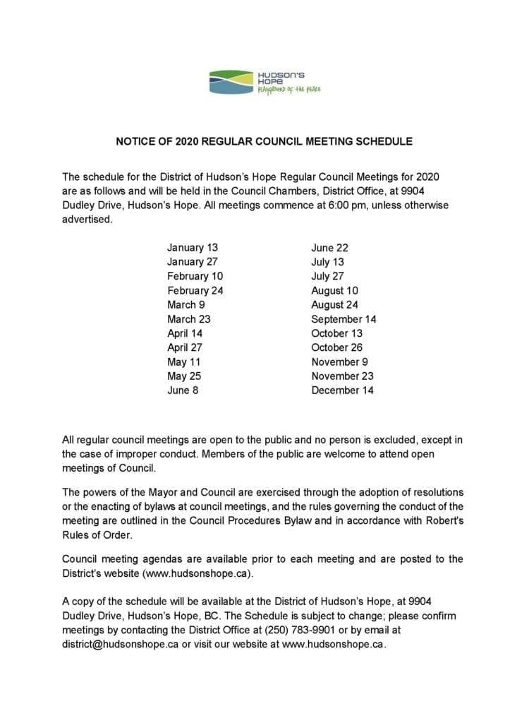 Notice of 2020 Regular Council Meeting Schedule